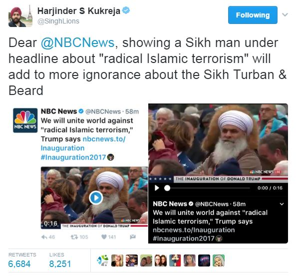 NBC's tweet using a picture of a Sikh man under a headline about Islamic terrorism.